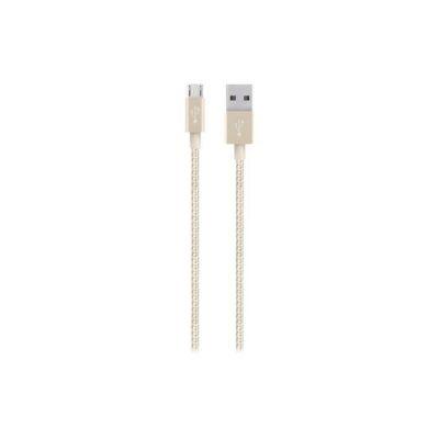 image Belkin - Câble Métallique Sync/Charge avec Connecteur Micro USB 2.4A - Or Métallique