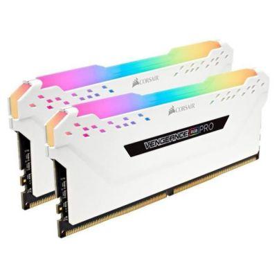 image Corsair Vengeance RGB PRO - Kit de Mémorie Enthousiaste (16Go (2x8Go), DDR4, 3000MHz, C15, XMP 2.0) Eclairage LED RGB dynamique - Blanc